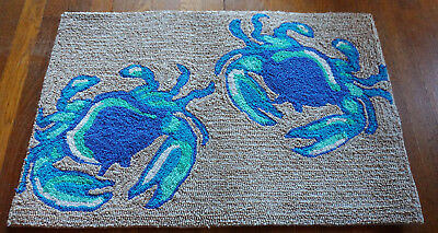 "BLUE CRAB AREA RUG Throw Carpet Coastal Beach Kitchen Home Decor Large 30"" NEW"