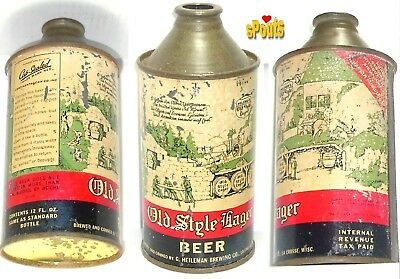 Old Style Lager 4% 1937 Bulb Hp Irtp Cone Top Beer Can Wi Wisconsin G. Heileman