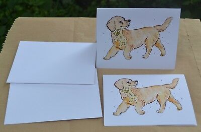 Golden Retriever.Puppy .Post cards made from my original watercolor. Set of 2