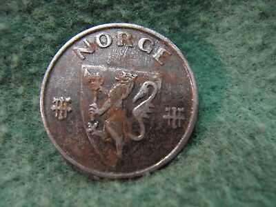 1942  Norway  WWll  Iron Issue Coin  NORGE   5 Ore  Coin  RARE !