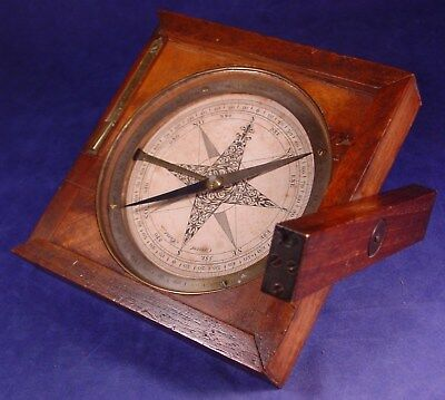 Circa 1760 Canivet Surveyors Wood Compass w/Side Scope - Very Nice