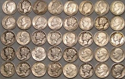 Lot Of 40 Mercury Roosevelt Silver Dimes Super Wide Range Of Dates & Mint Marks