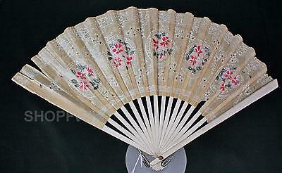Vintage Sensu Paper Folding Fan With Hand-Painted Flowers Lace Kyoto Japan