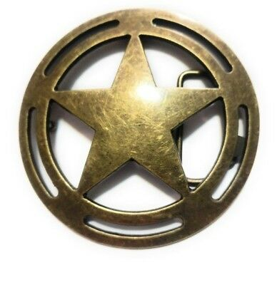 "♈ LARGE 4"" Old West Star Belt Buckle COWBOY ♈ Marshall Sheriff Great Western USA"