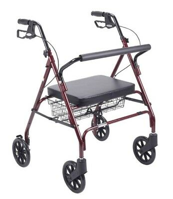 Drive Heavy Duty Bariatric Red 4 Wheel Rollator Walker With Large Padded Seat
