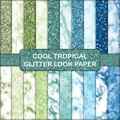 COOL TROPICAL GLITTER LOOK SCRAPBOOK PAPER - 20 x A4 pages.