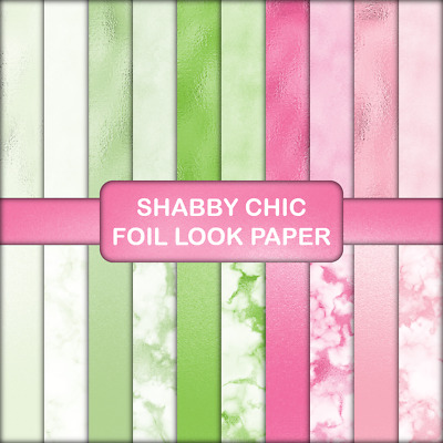 SHABBY CHIC FOIL LOOK SCRAPBOOK PAPER - 20 x A4 pages.