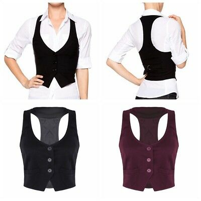 Women V-Neck Vest Shirts Suit Lady Work Uniform Business Office Formal Waistcoat