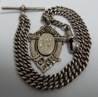 Lovely Clean English Antique 1921 Solid Sterling Silver Double Albert Chain