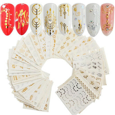 30 x Water Nail Art Stickers Decal Gold Silver Feather Flower Spider Design Set