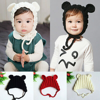 Baby Boys Girls Cotton Warn Hat Toddler Tie Up Beanie Kids Lace Up Cap Stretchy