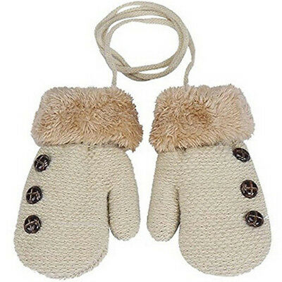 Kids Winter Acrylic Gloves Warm Full Finger Rope Mittens For Toddlers Baby CB