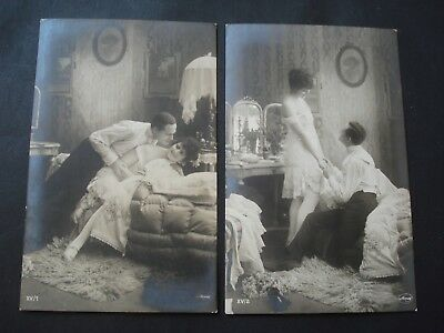 Lot 6 Cartes Photos Couple Semi Nue Erotisme