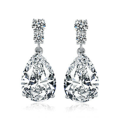 HUCHE Vintage Style White Gold Filled Pear Diamond Crystal Drop Lady Earrings
