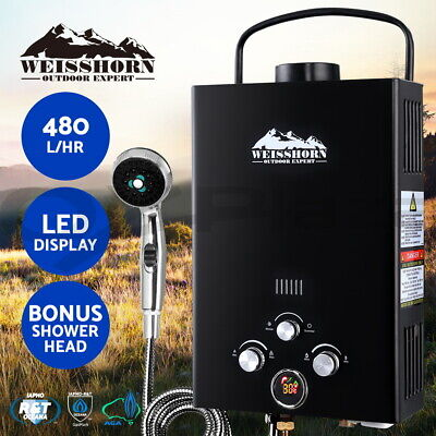 Weisshorn Portable Gas Hot Water Heater Shower Camping LPG Outdoor Black 4WD