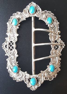 Antique Austro Hungarian Solid Silver Turquoise Belt Buckle