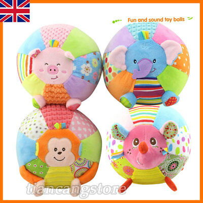 UK Baby Toddler Kids Colorful Soft Plush Rattle Ball Hand Grasp Bell Musical Toy