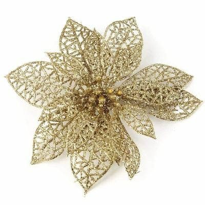 "3-12pc 3"" Rose Gold Glitter Christmas Poinsettia Flower Clip On Xmas Tree Decor"