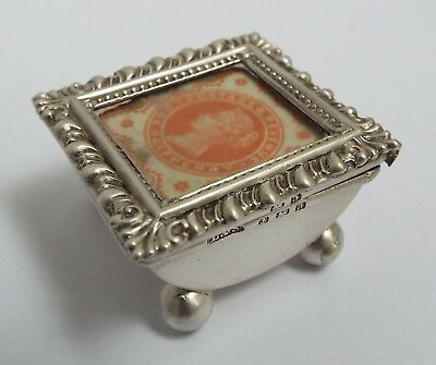 Lovely Rare Genuine English Antique 1900 Solid Sterling Silver Stamp Box On Feet