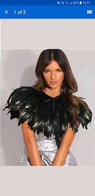 UK Black Green Feather Collar Cape Shawls Wrap