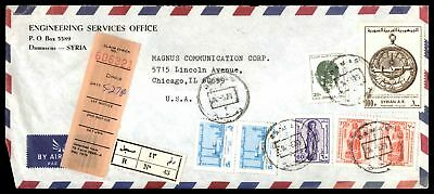 Engineering Services Damascus May 1980 Registered Air Mail Cover To Chicago Il U