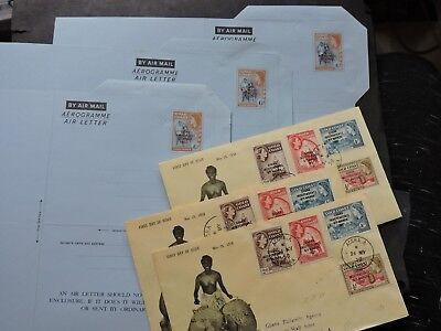 LOT x6 GHANA 1958 FDC STAMP COVERS +AEROGRAMME AIR LETTER ! OVERPRINT GOLD COAST