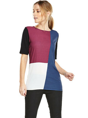 V By Very Colour Block Jersey Back Woven Front Top
