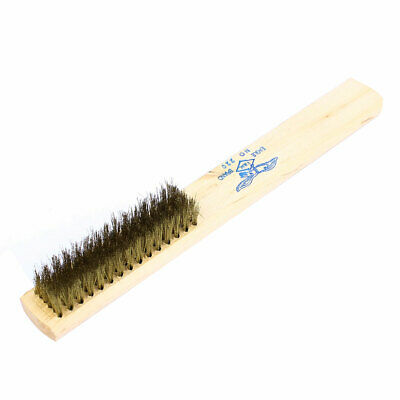"""8.3"""" Length 15 Rows Wood Handle Brass Bristle Wire Scratch Brush"""