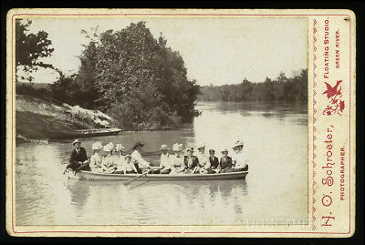 Antique Photo Victorian Group in Canoe Green River Kentucky Floating Studio
