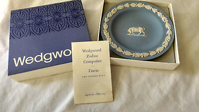 "Wedgewood Jasperware Taurus Zodiac Sign 4.5"" Plate in Box Blue Made in England"