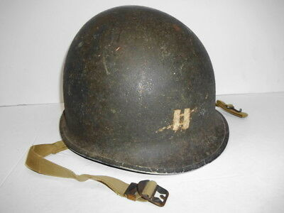 1943 Combat CAPT Rank Painted FIXED BALE '758D' McCord 1st pat. US M-1 HELMET