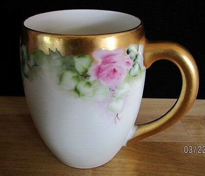 T & V  Tressemanes & Vogt Limoges France Pink Rose Chocolate Cup With Gold