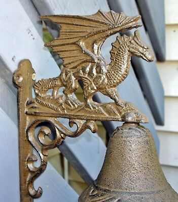 Cast Iron HANGING BELL on a Scrolling Bracket with WINGED DRAGON  ~  MEDIEVAL ~