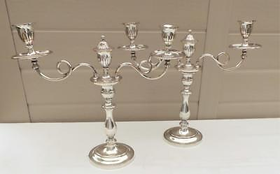 Fabulous Large & Beautiful Pair Of 43 Cm Old Sheffield Plate 2 Light Candelabras