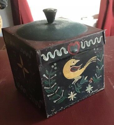 Antique box painted tin toleware PA Dutch early unusual 1800's Birds Hex