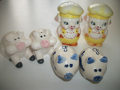 PIG LOVERS SALT PEPPER shakers - 3 pairs in excellent condition