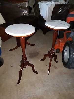 Victorian Style Pair of Solid Mahogany round Marble Top Side Tables tall pedista