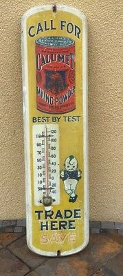 The Best ! Rare Calumet Kid & Indian Baking Powder Antique Wood Thermometer Sign