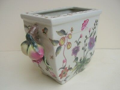 LARGE CHINESE HAND PAINTED PEACH HANDLES VASE PLANTER BUTTERFLY 4 red character