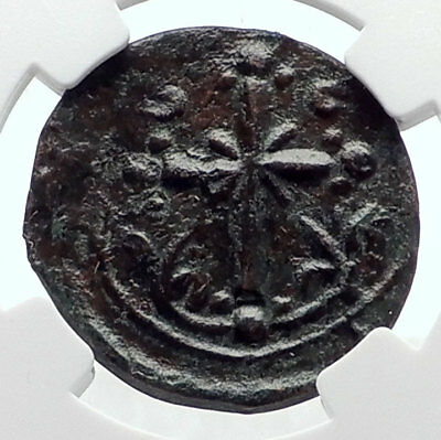 JESUS CHRIST Class I Anonymous Ancient Byzantine Follis Coin CROSS NGC i72082