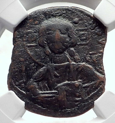 JESUS CHRIST Class B Anonymous Ancient Byzantine Follis Coin CROSS NGC i72085