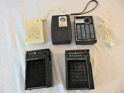 Vintage Lot 5 AM Transistor Radios General Electric GE Rhapsody Saxony Amico Old