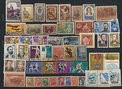 Russia Old Time Stamp Collection Estate Sale 49 Different Cancelled Stamps