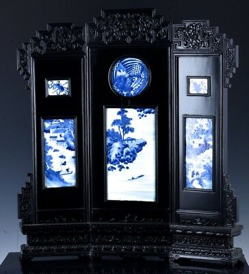 Fine Antique Chinese Lacquered Blue & White Porcelain Plaque Inlaid Table Screen