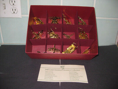 12 Danbury Mint 1988 Gold Christmas Ornament Collection Complete Set in Box