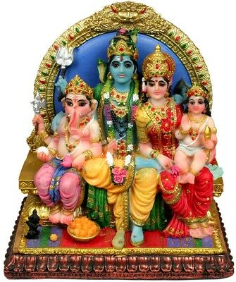 Lord Shiva Ganesh Goddess Parvati Family STATUE Figurine Hindu God INDIA Puja