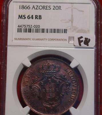 1866 Azores 20 Reales Coin NGC Graded MS 64 RB