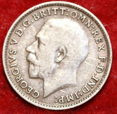 1915 Great Britain 3 Pence Silver Foreign Coin