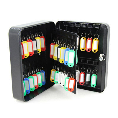 Solid Steel 48 Hook Key Safe Box w/Tag Lock Storage Case Cabinet Wall Mount Home