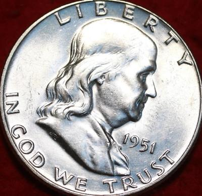 Uncirculated 1951 Philadelphia Mint Silver Franklin Half